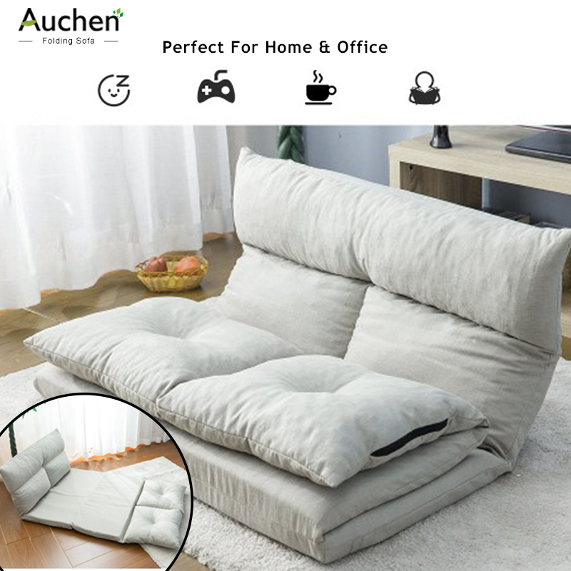 AUCHEN® Folding Floor Sofa Bed,Adjustable Floor Couch And Sofa,Video Gaming Sofa,Lounge Sofa,5 Reclining Position - Adjustable Fabric Folding Sofa Floor Chair-Living Room And Bedroom(Gray) - Walmart.com - Walmart.com
