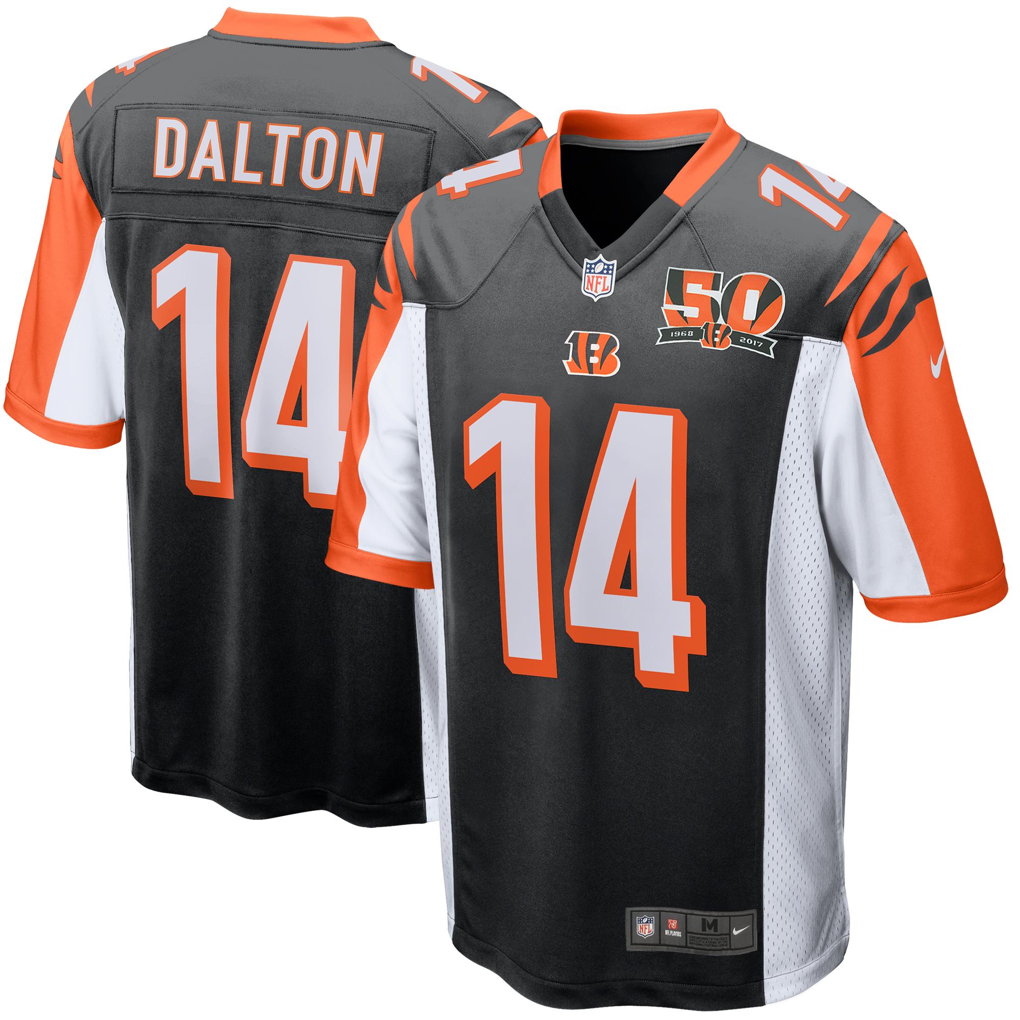 Andy Dalton Cincinnati Bengals Nike 50th Anniversary Patch Game Jersey - Black