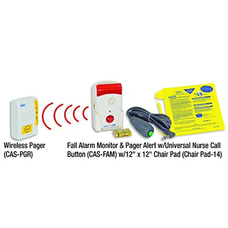 Secure Caregiver Alert System Chair Exit Alarm Set - Wireless Pager, Patient Alarm Monitor With Nurse Call Button, 12 inch x 12 inch Sensor Pad - Batteries Included