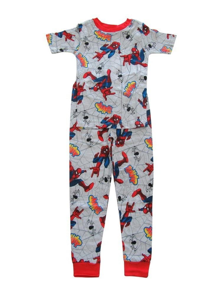 Marvel Boys Grey Red Spider-Man Short Sleeve Two Piece Pajama Set