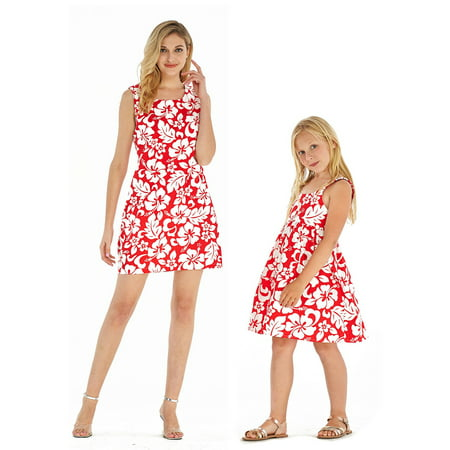 Matching Mother Daughter Hawaiian Luau Outfit Women Girl Dress Classic Vintage Hibiscus Red 2XL-2