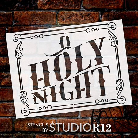 O Holy Night Stencil by StudioR12 | DIY Holiday Home Decor | Vintage Christmas Song Lyric Word Art | Christian Faith Hymn | Craft & Paint Wood Signs | Reusable Mylar Template | Size (11 x 15 inch) ()