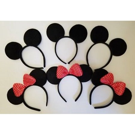 LWS LA Wholesale Store  12 PCS MICKEY BLACK & s RED POLKA BOW EAR HEADBANDS RED BOW PARTY COSTUME MINNIE](Minnie Mouse Ears Headband)