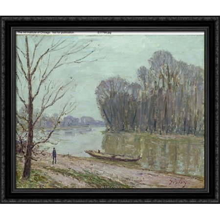 Banks Of The Loing  Winter 32X28 Large Black Ornate Wood Framed Canvas Art By Alfred Sisley