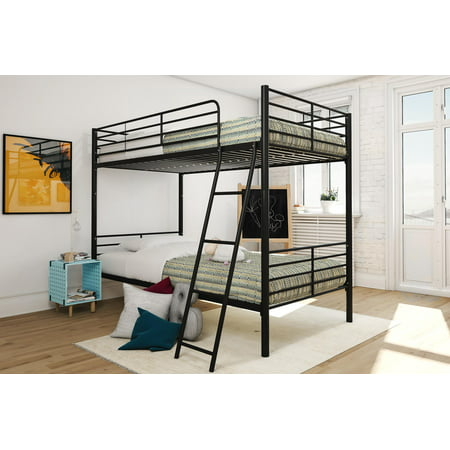 Mainstays Convertible Metal Twin over Twin Bunk Bed with 2 Mattresses, Multiple (Triple Bunk Beds With Mattresses For Sale)