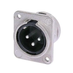 Neutrik NC3MDM3-L-1 3 pole male receptacle solder cups Nickel housing