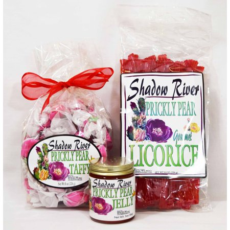 Shadow River Gourmet Prickly Pear Cactus Candy Sampler (Licorice, Taffy, Jelly)