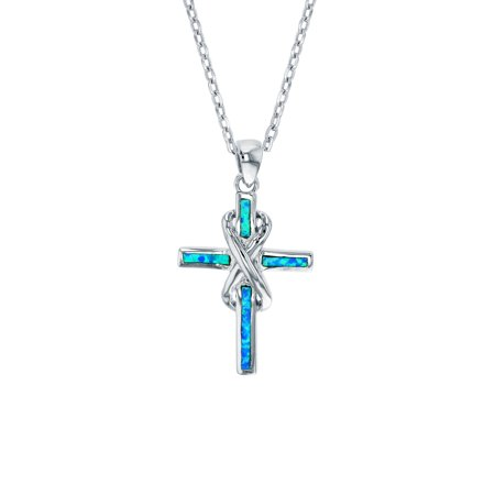 Opal Solid Cross (ZilverZoom Sterling Silver Blue Opal Cross Pendant Free Sterling Silver 18