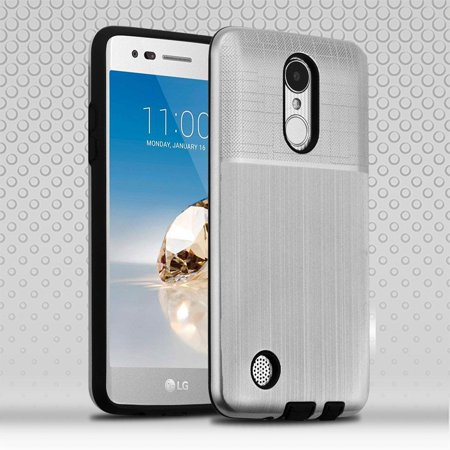 LG Aristo/Fortune/K4 (2017)/K8 (2017)/LV3/Phoenix 3/Risio Case, by Insten Dual Layer Hybrid Brushed Hard Snap-in Case Cover For LG Aristo/Fortune/K4 (2017)/K8 (2017)/LV3/Phoenix 3/Risio - Silver/Black - image 3 of 3