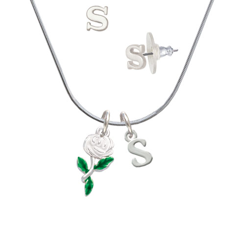 White Rose Flower - S Initial Charm Necklace and Stud Earrings Jewelry Set