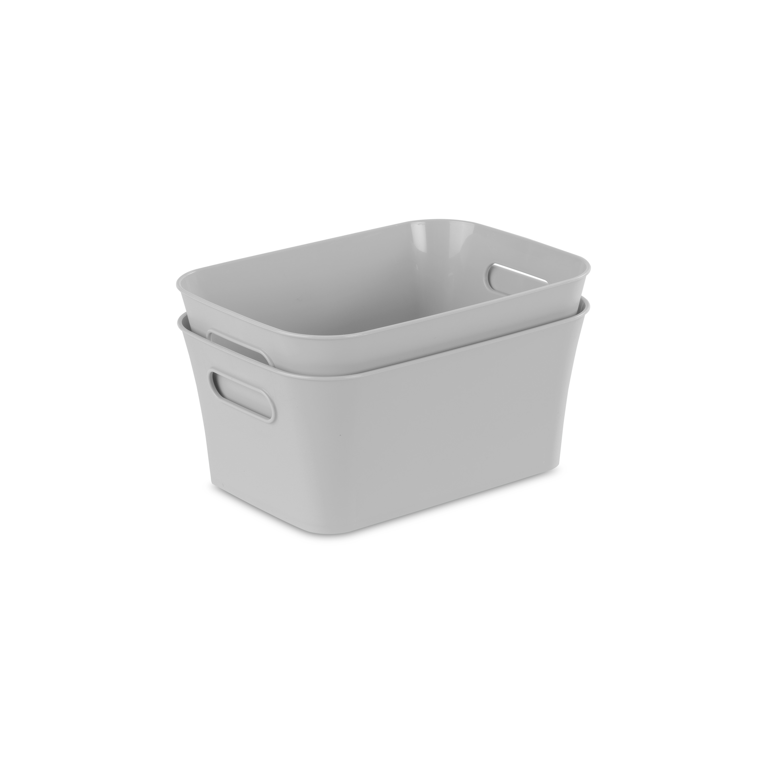 Sterilite Set of (2) Small Bins Brushed Silver