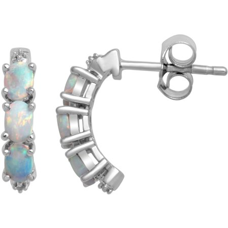 Created Opal and White CZ Sterling Silver Fashion - 90s Jewelry