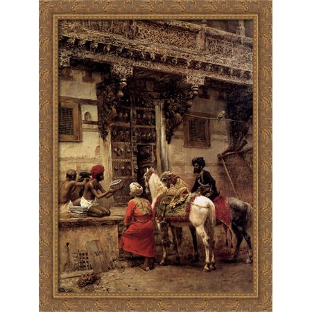 Craftsman Selling Cases By A Teakwood Building  Ahmedabad 28X38 Large Gold Ornate Wood Framed Canvas Art By Edwin Lord Weeks
