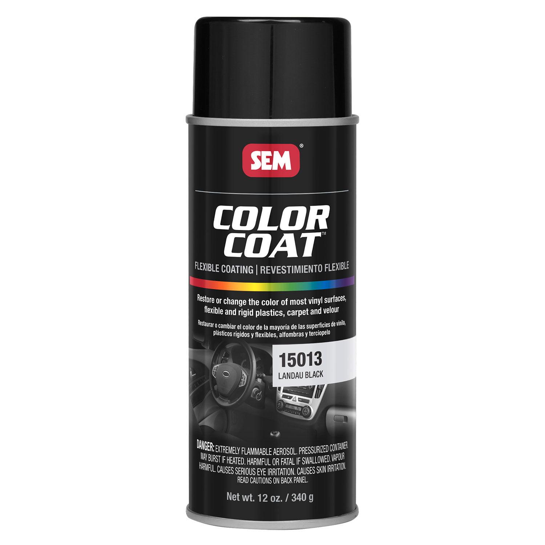 SEM COLOR COAT LANDAU BLACK Vinyl Spray Auto Paint 12 oz. SEM 15013