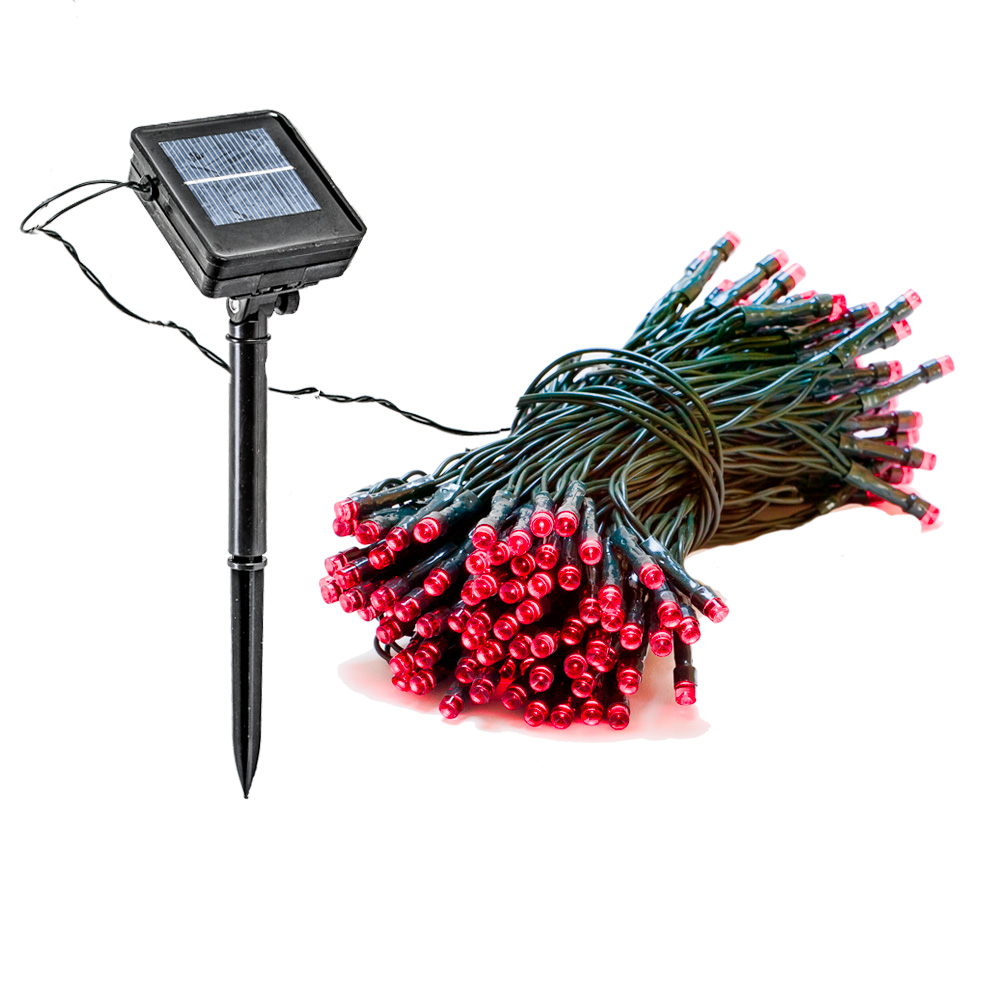39 Foot Red Solar String Lights Holiday Outdoor Patio