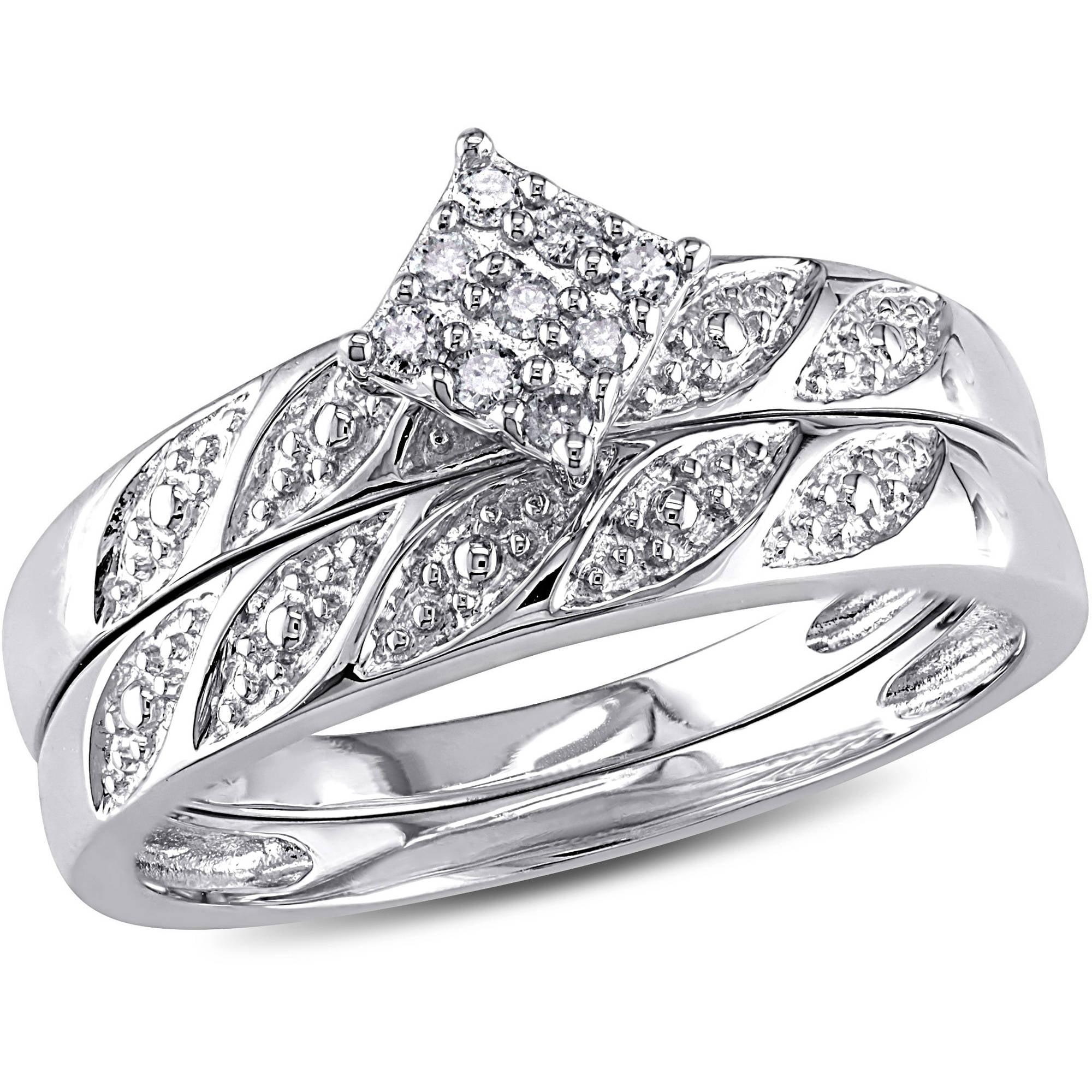 Miabella DiamondAccent Sterling Silver Bridal Ring Set Walmartcom