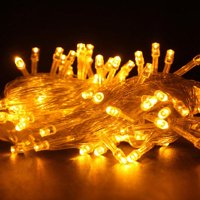 100 LED YELLOW Fairy String Lights Lamp for Xmas Tree Holiday Wedding Party Decoration Halloween Showcase Displays Restaurant or Bar and Home Garden - Control up to 8 modes