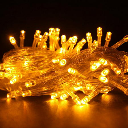 100 LED YELLOW Fairy String Lights Lamp for Xmas Tree Holiday Wedding Party Decoration Halloween Showcase Displays Restaurant or Bar and Home Garden - Control up to 8 modes - Halloween Light Show Party Anthem