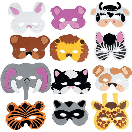 12 Zoo Animal Masks Child Size Foam Dress Up Party Favors - Animal Party Favors