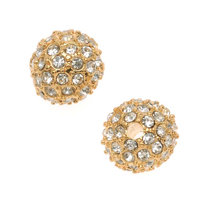 Beadelle Crystal 10mm Round Pave Bead Lg Hole Gold Plated / Crystal (1 Piece)