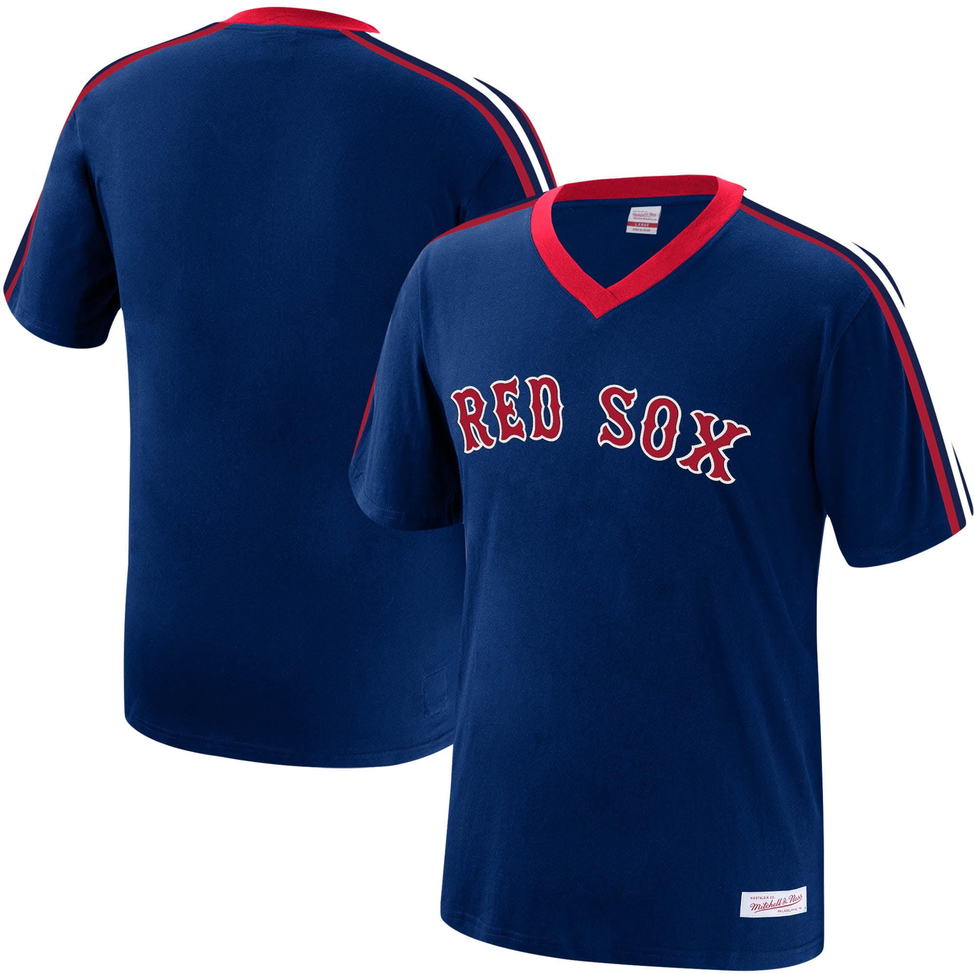 Boston Red Sox Mitchell & Ness Overtime Win V-Neck T-Shirt - Navy