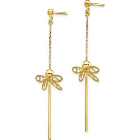 Leslie's 14K Polished Dragonfly Post Dangle Earrings - image 2 de 3