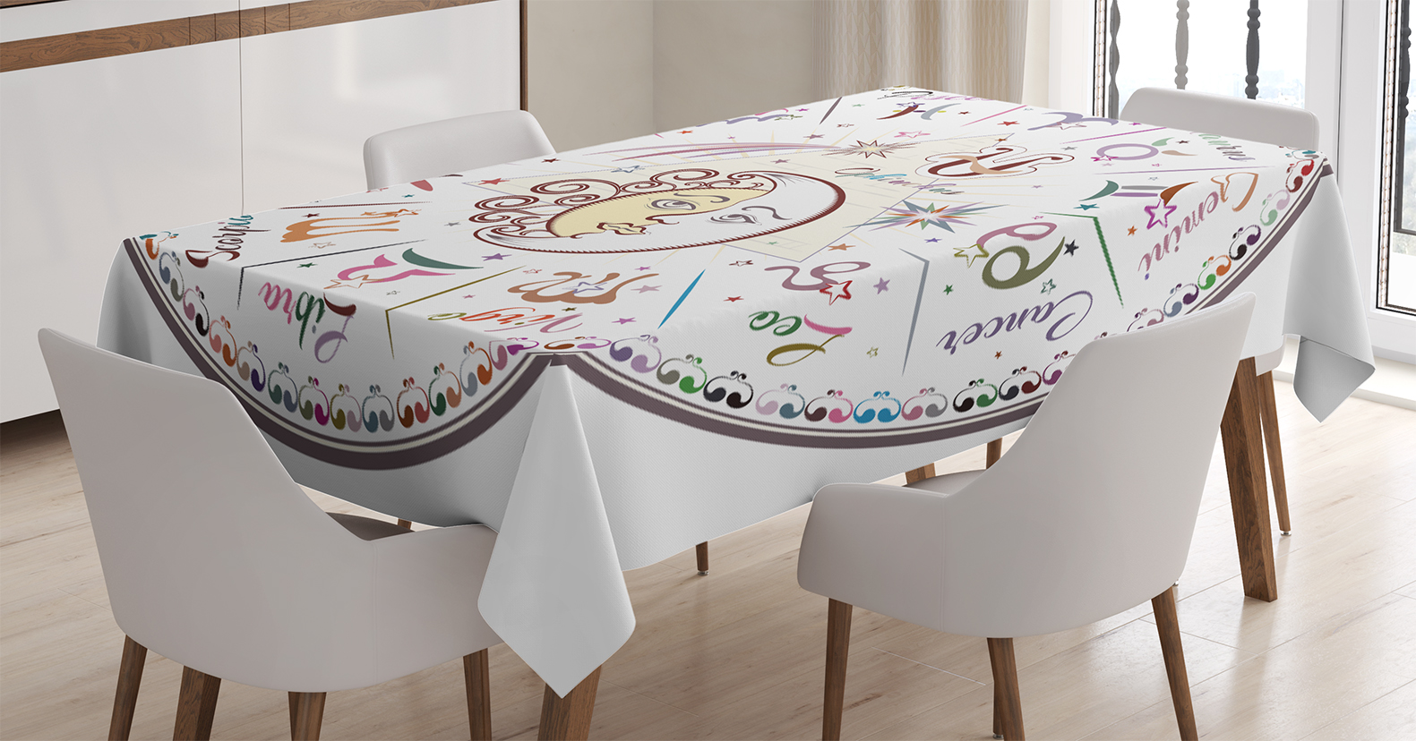 Zodiac Decor Tablecloth Western Chart With All Signs