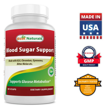 Best Naturals Blood Sugar Support Supplement - Made with Alpha Lipoic Acid, Chromium, Multiple Herbs & Multivitamin for Blood Sugar Control - 60 Veggie