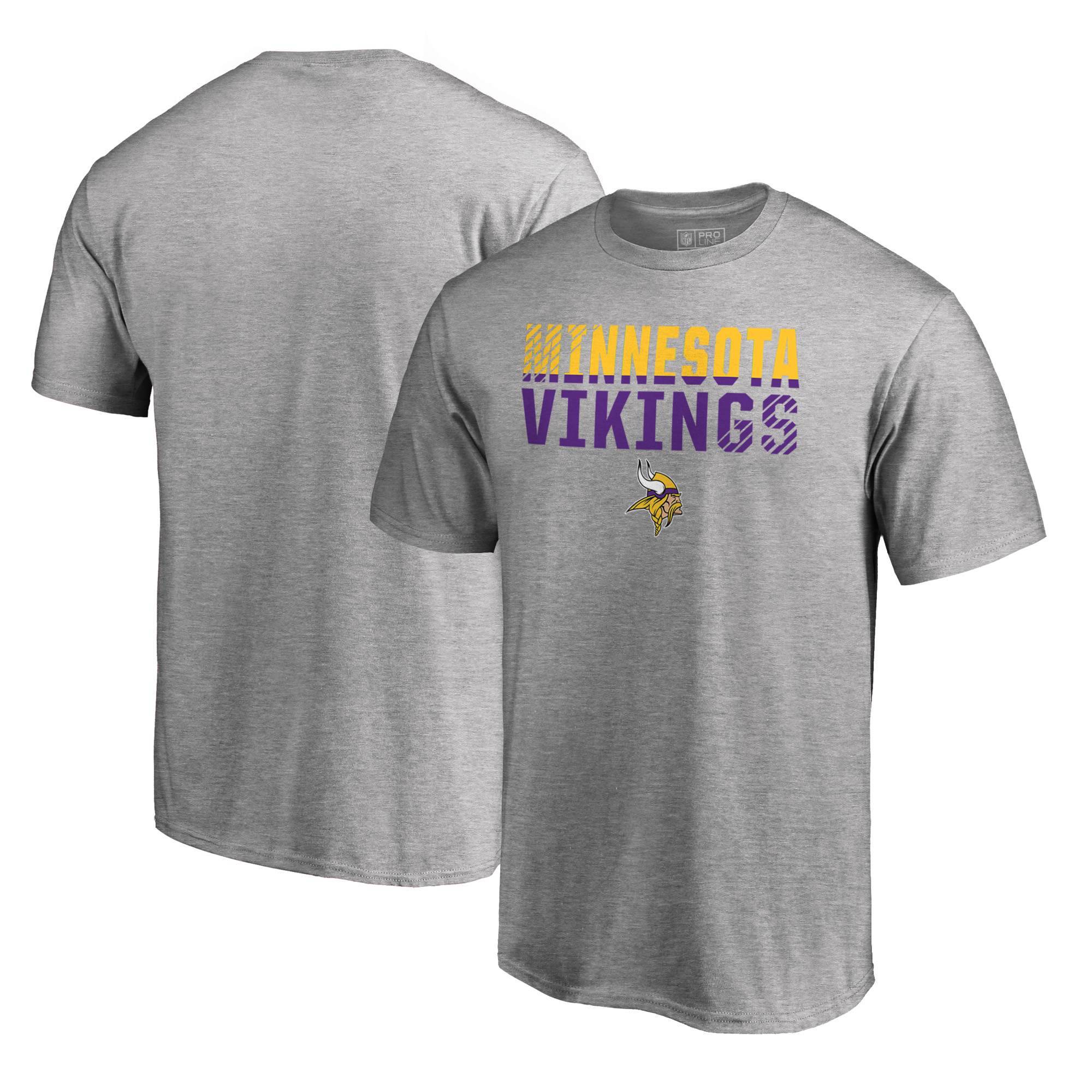 Minnesota Vikings NFL Pro Line by Fanatics Branded Iconic Collection Fade Out Big and Tall T-Shirt - Ash