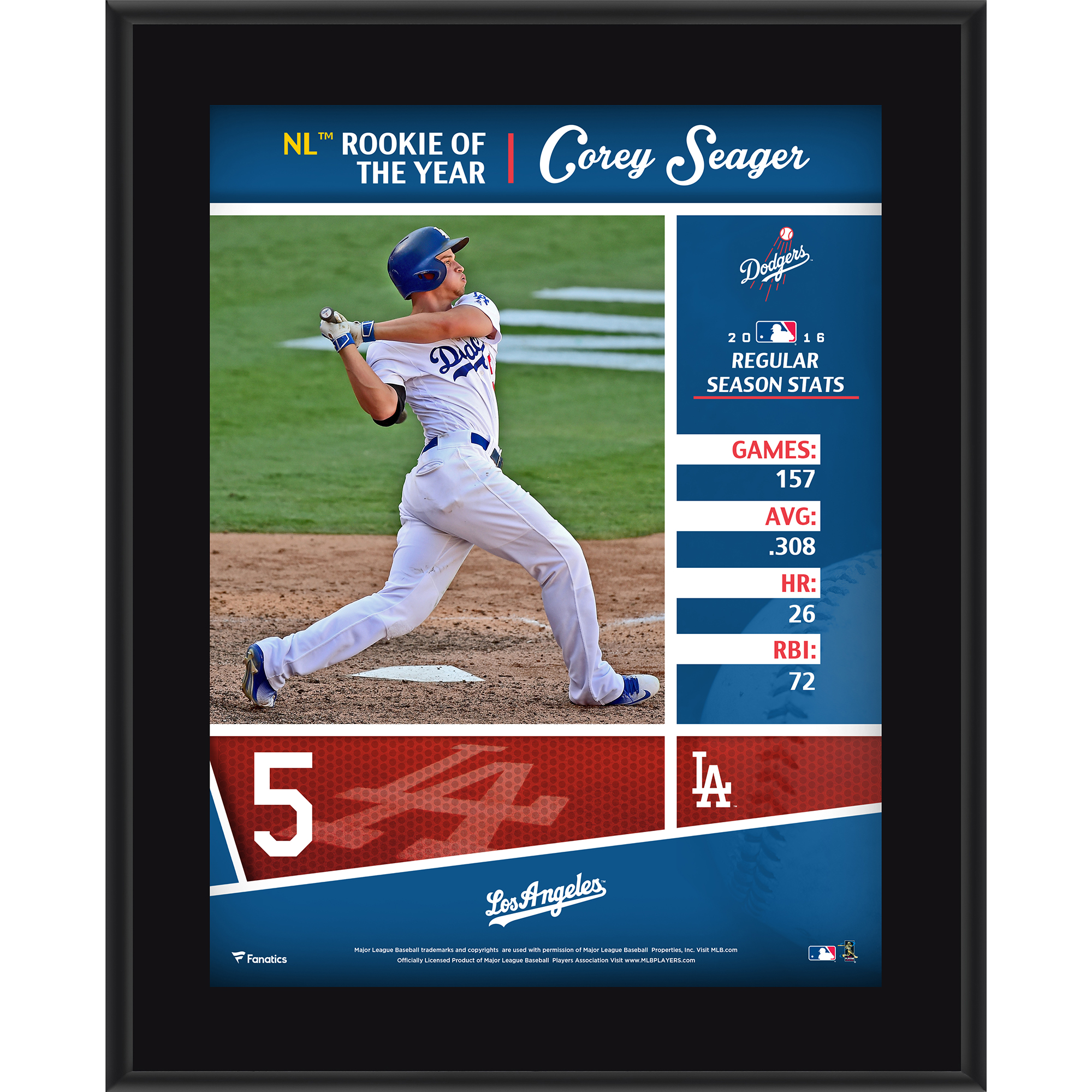 """Corey Seager Los Angeles Dodgers Fanatics Authentic 10.5"""" x 13"""" 2016 National League Rookie of the Year Sublimated Plaque - No Size"""
