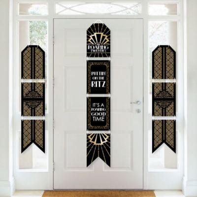 1920s Art Deco Jazz Party Room Decoration Kit Wall and Door Hanging Decor Roaring 20\u2019s
