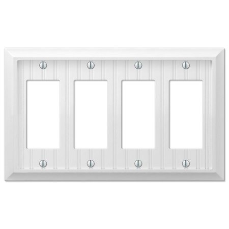 Cottage White Wood Quad Four GFCI Decora Rocker Wall Plate Outlet Cover