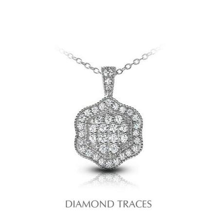 0.68 Carat Total Natural Diamonds 14K White Gold Pave Setting Flower Shape With Milgrain Fashion Pendant