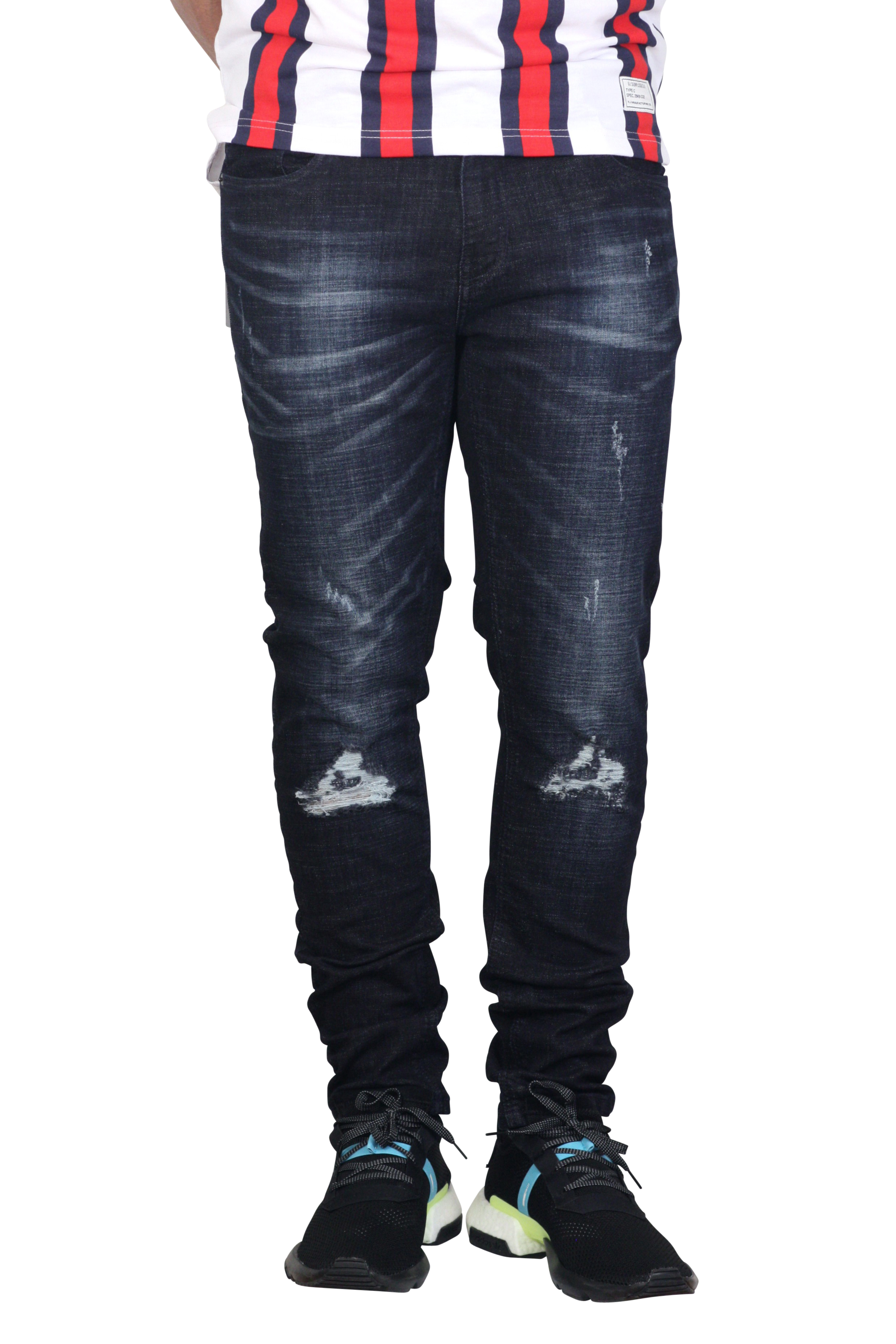 COPPER RIVET Skinny Fit Washed Jeans with Rips and Tears Dark Wash