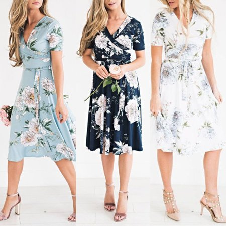 Senfloco Summer Floral Tunic Dresses for Women, Vintage Swing Skater Dresses Ruffle Beach Party Dresses with A-line Fishtail Short Sleeves