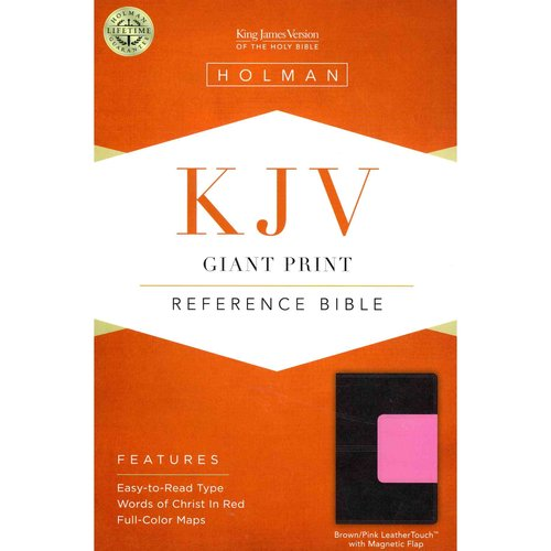Holy Bible: King James Version, Brown/Pink, LeatherTouch With Magnetic Flap, Giant Print, Reference