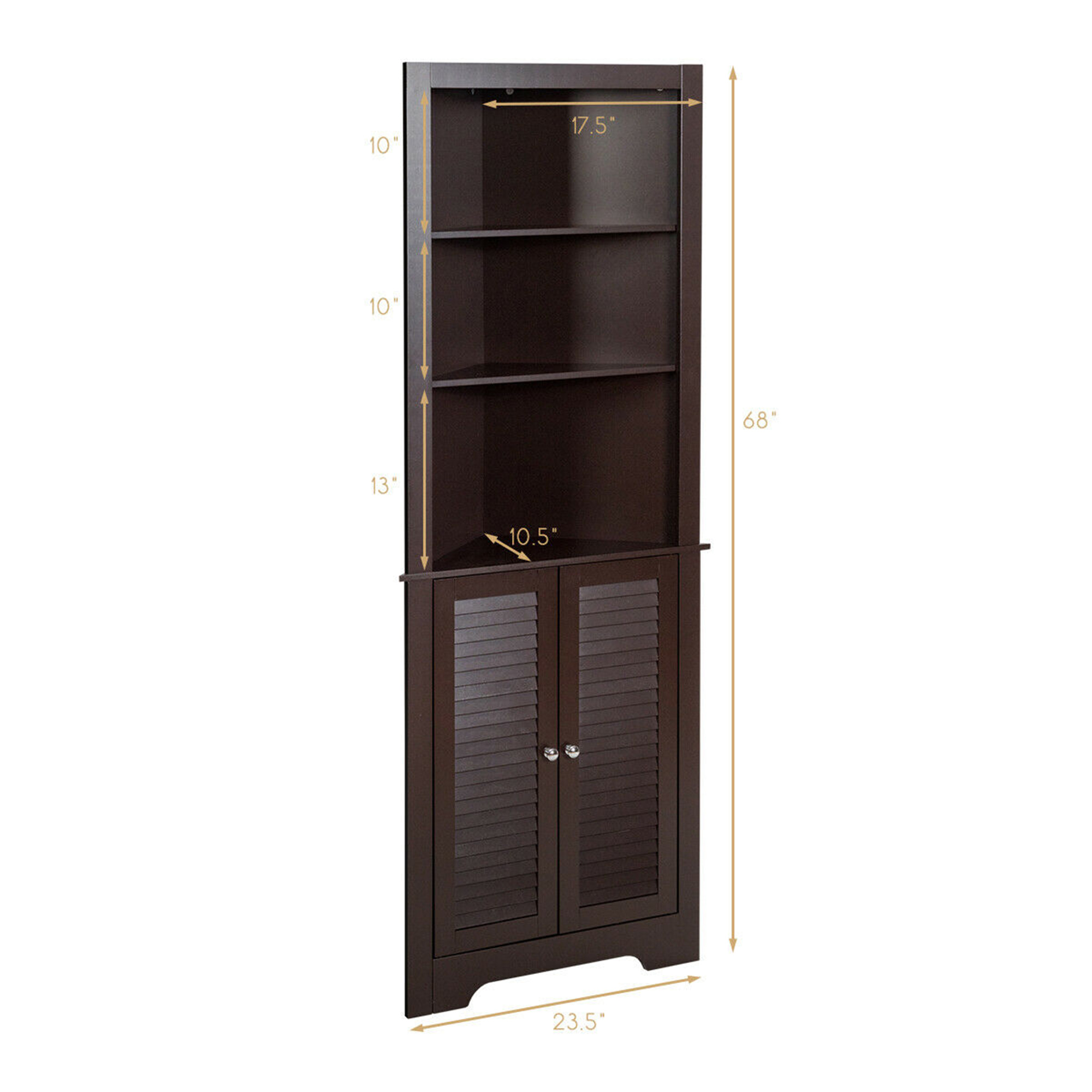 Gymax Bathroom Corner Storage Cabinet Free Standing Tall Bathroom Cabinet W 3 Shelves Walmart Com Walmart Com