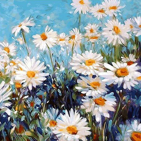 """Tinymills Paint by Numbers White daisy DIY Acrylic Painting Kit for Kids & Adults – 16"""" x 20"""" - Acrylic Paint Kit"""