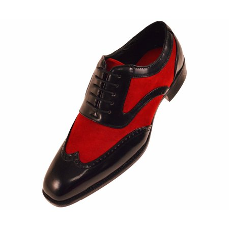bb6fe9f20c917 Sio Mens Two-Tone Suede Smooth Wingtip Oxford Dress Shoe: Style Brighton  Available in Red, Black, & Grey
