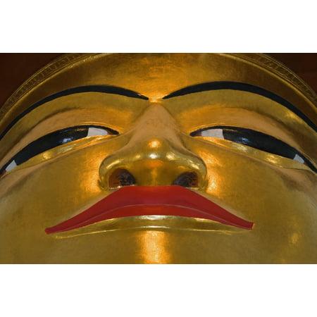 Face Of Golden Buddha In Bagan Temple Myanmar (Burma) Stretched Canvas - Carson Ganci  Design Pics (34 x