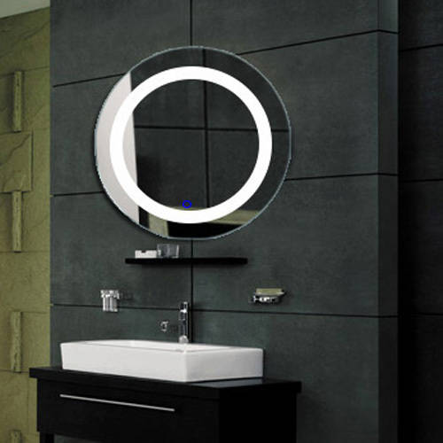 Fab Glass and Mirror Modern Bathroom LED Lighted Wall Mounted Vanity Mirror Round Shape by Fab Glass and Mirror
