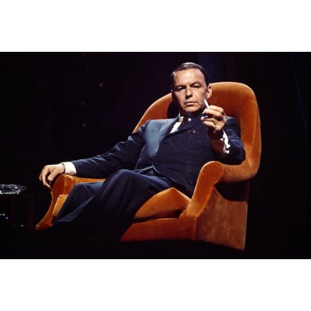 Frank Sinatra in chair holding cigarette 24x36 Poster (Cigarettes Poster)