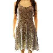 Free People NEW Beige Champagne Foil Lace Women's Size Small S Sheath Dress $98