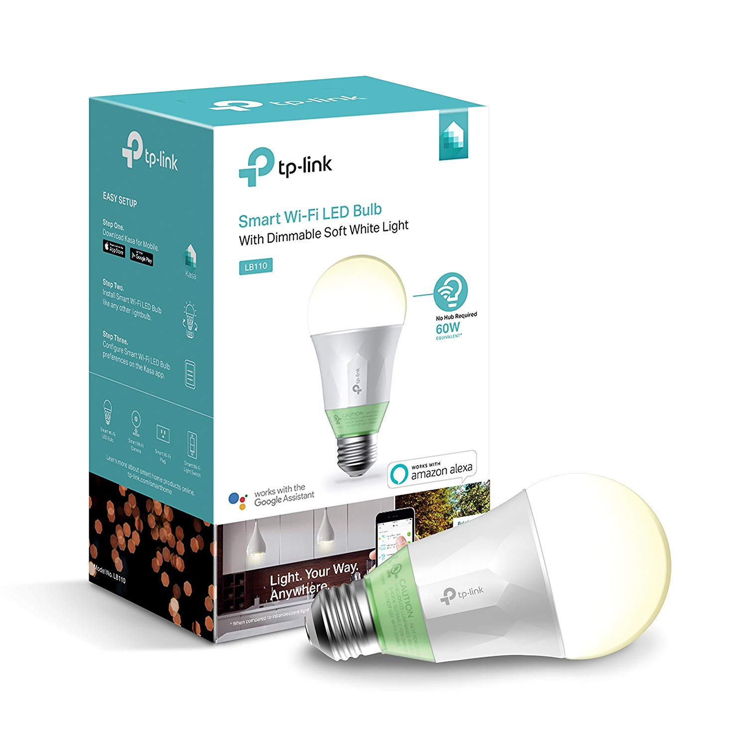 2 Pack Kasa Smart Wi-Fi LED Soft White Dimmable Light Bulb A19 Works with Alexa, Google LB110