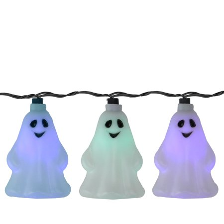 Northlight 10ct LED Color Changing Ghost Halloween Lights Black Wire - 9' (Halloween Lights)