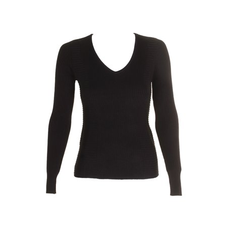 Inc International Concepts Deep Black Long-Sleeve Ribbed V-Neck Sweater S
