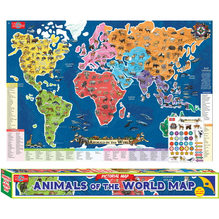 Ts shure animals of the world map pictorial poster walmart ts shure animals of the world map pictorial poster gumiabroncs Gallery