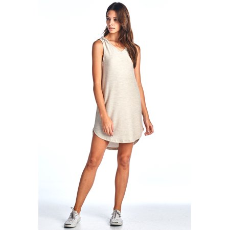 Made in USA Comfy Hooded Tank Ribbed Dress, Beige, Medium