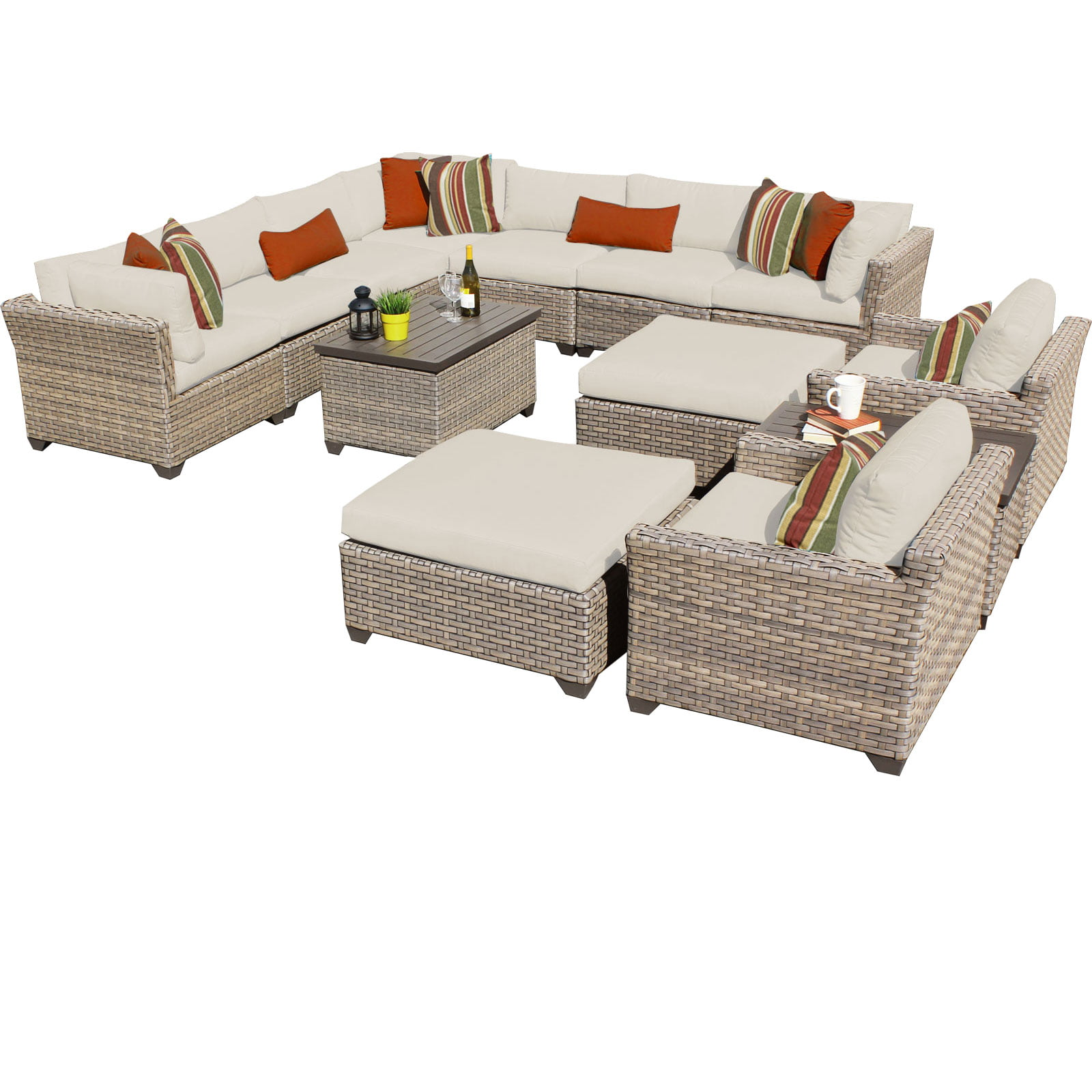 Hampton 13 Piece Outdoor Wicker Patio Furniture Set 13a by TK Classics