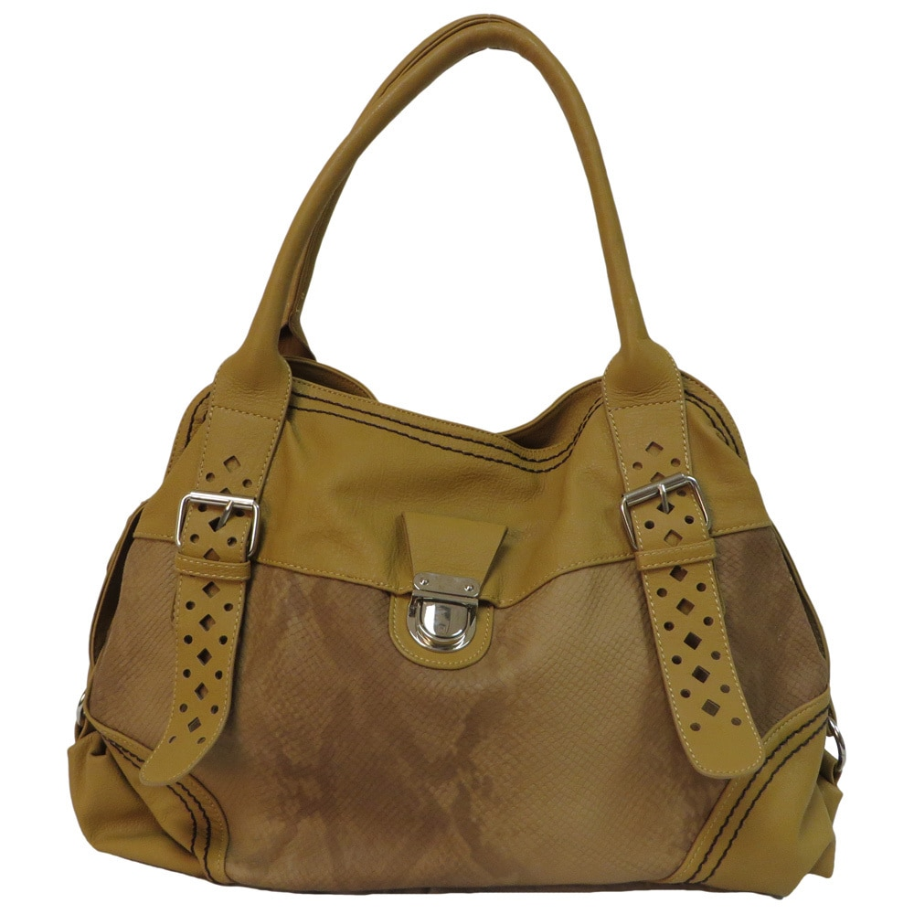 Donna Bella  'Victoria' Mustard Faux Leather Tote Bag